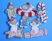 Design Works Plastic Canvas Stitch Kit Sweetie Snowmen Ornaments