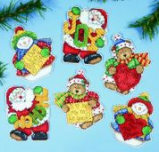 Design Works Plastic Canvas Kit Messages of Joy Ornaments