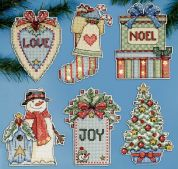 Design Works Plastic Canvas Stitch Kit Country Christmas Ornaments