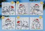 Design Works Plastic Canvas Stitch Kit Christmas Cats Ornaments