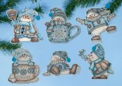 Design Works Plastic Canvas Kit Cocoa Snowmen