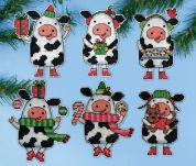 Design Works Plastic Canvas Kit Christmas Cows Ornaments