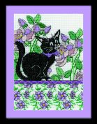Design Works Counted Cross Stitch Kit Lilac Floral Cat