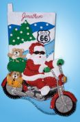 Design Works Applique Felt Stitching Kit Route 66 Felt Stocking