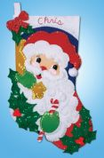 Design Works Applique Felt Stitching Kit Holly Santa Felt Stocking