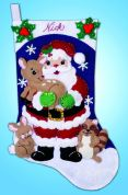 Design Works Embroidery Kit Forest Friends Felt Stocking