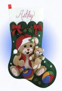 Design Works Applique Felt Stitching Kit Playful Bears Felt Stocking