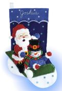 Design Works Applique Felt Stitching Kit Sledding Felt Stocking