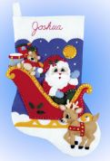 Design Works Applique Felt Stitching Kit Santa Sleigh Felt Stocking