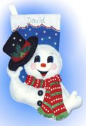 Design Works Applique Felt Stitching Kit Snowman With Hat Felt Stocking