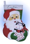 Design Works Applique Felt Stitching Kit Santa & Kitten Felt Stocking