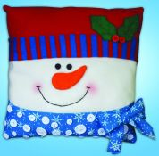 Design Works Embroidery Kit Snowman Buttons Pillow