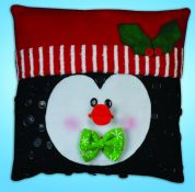 Design Works Embroidery Kit Penguin Buttons Pillow