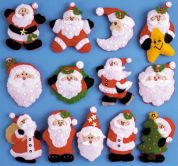 Design Works Applique Felt Stitching Kit Lots Of Santa's Ornament Set