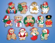 Design Works Applique Felt Stitching Kit Lots of Bears Ornament Set