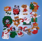 Design Works Applique Felt Stitching Kit Lots of Kittens Ornament Set