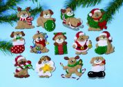 Design Works Applique Felt Stitching Kit Lots of Dogs Ornament Set