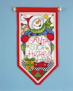 Design Works Counted Cross Stitch Kit Santa?s Stop Here Banner