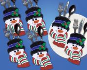 Design Works Applique Felt Stitching Kit Snowman Faces Pocket Set