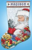Design Works Counted Cross Stitch Kit Santa with Kitten Stocking