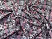 Polyester & Wool Blend Plaid Check Dress Fabric  Rose Pink