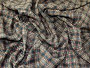 Polyester & Wool Blend Plaid Check Dress Fabric  Forest Green