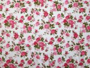 Vintage Style Floral Print Polycotton Dress Fabric  Pink