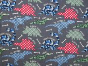 Dinosaur Print Cotton Dress Fabric  Grey