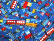Trains Print Cotton Dress Fabric  Blue