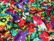 Floral Print Viscose Waffle Dress Fabric  Multicoloured