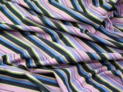 Colourful Striped Denim Dress Fabric  Multicoloured