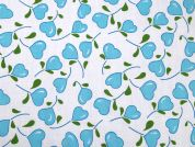 Heart Print Polycotton Dress Fabric  Turquoise