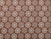 Christmas Snowflakes Print Cotton Fabric  Brown