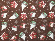 Christmas Snow Houses Print Cotton Fabric  Brown