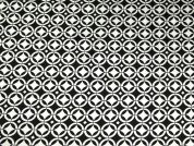 Geometric Print Stretch Satin Dress Fabric  Black & White