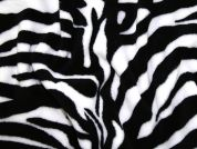 Zebra Animal Print Plush Cuddle Supersoft Fleece Fabric  Black & White