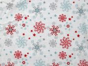 Floral Stars Print Cotton Dress Fabric  White