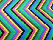 Chevron Print Polycotton Canvas Dress Fabric  Multicoloured