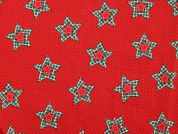 Christmas Spots & Stars Print Cotton Fabric  Red & Green