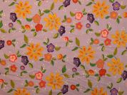 Floral Cotton Fabric  Mauve