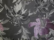 Large Floral Woven Brocade Dress Fabric  Pink & Grey