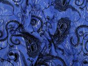 Flocked Paisley Print Stretch Lace Dress Fabric  Royal Blue