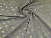 Foil Cotton Jersey Knit Fabric  Grey & Gold