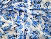 Delicate Floral Print Cotton Lawn Dress Fabric  Blue