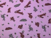 Bunny Rabbits Print Polycotton Dress Fabric  Brown & Grey on Lilac
