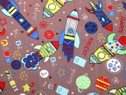 Rocket Ships Print Polycotton Dress Fabric  Brown