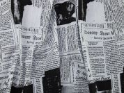 Newspaper Print Crinkle Cotton Voile Dress Fabric  Black & White
