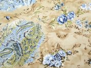 Floral Print Polyester Georgette Dress Fabric  Blue & Beige