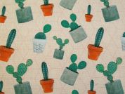 Cotton Canvas Fabric  Peach & Green