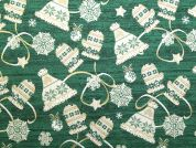 Metallic Christmas Hat & Gloves Print Cotton Fabric  Green